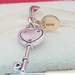Wholesale Sterling Silver Key Bracelet - 925 Sterling Silver Key to My Heart Dangle Charm Bead with 14K Gold Fits European Pandora Style Jewelry Bracelets Necklace
