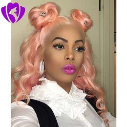 Largo ondulado a prueba de calor del pelo del oro rosa color rosa Cosplay sintético del frente del cordón pelucas para mujeres del partido presente desde fabricantes