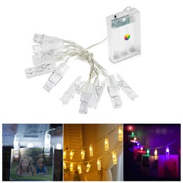 Pions de cartes en Ligne-1 M 10LED Carte Photos Photos Clips Clips Pegs Bright String Light Lampe Intérieur Home Party Festival Décor