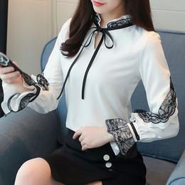 Wholesale Korean Formal Woman Shirt - Formal Blouses 2018 New Spring and Summer Top Shirt Korean Fashion Women Long Sleeved White Chiffon Shirts Ruffles