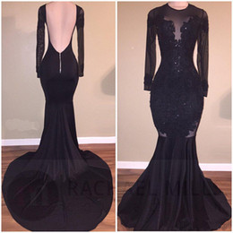 Wholesale Stretch Sequin Evening Dress - Elegant Black Illusion Prom Dresses 2017 Sexy Backless Mermaid Long Sleeves Stretch Long Evening Party Gowns with Appliques Beaded