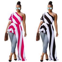 peplum blusa longa Desconto Frete grátis 2018 mais recente novo modelo curto frente longo voltar top blusa mulheres nova moda verão stripe plissado um ombro peplum topos