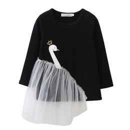 Wholesale Chiffon Tops For Kids - little girl dress novelty swan lace solid cotton dress shirt for 3-7years girls kids children cosplay tops clothes