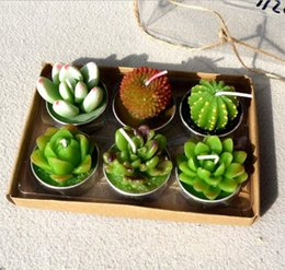 Wholesale paraffin candle wax - 6pcs 1set Decorative Wedding Candles Mini Cactus Candle Table Tea Light Home Garden Simulation Plant Candle party Home Decorations KKA5195