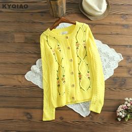 Suéteres cardigan amarillo para mujer online-KYQIAO womens tops mujeres cardigan mori girls otoño invierno Japón estilo manga larga amarillo naranja bordado knitwear suéter