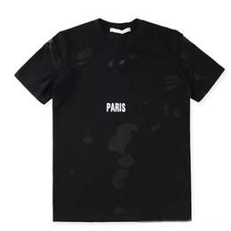 Hochwertiges straßent-shirt online-givenchy Brand design SS18 Sommer Streetwear Europa Paris Fan Made Mode Männer Hohe Qualität Gebrochen Loch Baumwolle T-shirt Casual Frauen T-shirt