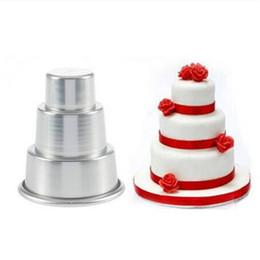 caneta de macarrão Desconto 2020 atacado DIY Mini 3-Tier Cupcake Pudim Bolo de Chocolate Mold Baking Pan molde partido do bolo