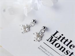 weißgold nummer 925 Rabatt Großhandel zurück Kleiderbügel Ohrringe 100% garantiert solide 925 Sterling Silber Ohrringe mit Muschel Perle