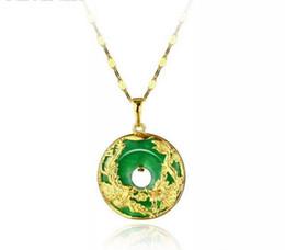 Colar de pingente de ouro dragão jade on-line-Banhado a ouro areia vietnamita retro Malay jade dragão e phoenix Chengxiang pingente homens e mulheres colar de jóias por atacado