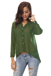 4da4bd2f7ae women s sheer blouses Promo Codes - Long sleeve chiffon shirt Women  Irregular length Top Sheer
