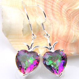 Wholesale Celtic Wholesale Products - New products Free Shipping- 2pairs Valentine's Day Lucky Shine Heart Rainbow Mystic Topaz Gems 925 Sterling Silver Plated Drop Earrings