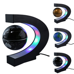 "Wholesale Levitation Globe - US EU UK Plug 3"" Home Office Decoration LED Tellurion Globe C Shape Floating Magnetic Levitation Globe Light World Map With LED Tellurion"