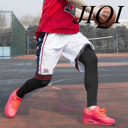 Wholesale Knee Support Leggings - Wholesale- Basketball Stockings Pantyhose Leggings extended calf support professional sports knee socks male warm air equipment
