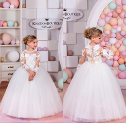 Wholesale little girls t shirts - 2018 Little Girls Pageant Dresses Long Sleeve Ball Gown Flower Girl Dresses Kids Communion Prom Dresses