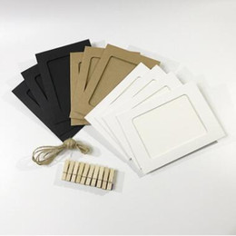Wholesale pictures papers - Party Booth Props Paper Picture Holder Wedding Birthday Decoration With Rope DIY Photo Frame Wooden Clip Party Decorations CCA9841 72set
