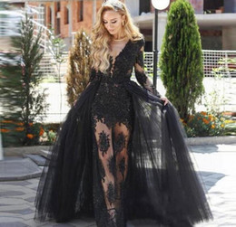 Wholesale Sexy Celebrity See Through Dress - Sexy Black Sheath Overskirt Prom Dresses Jewel Neck Long Sleeves Evening Dresses See Through Lace Appliques Celebrity Formal Party Gowns
