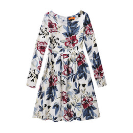 Wholesale Princess Dresses Age 12 - New Long sleeve cotton girl dress casual for 6-12 age bow floral printing Girls Princess Party Bow Kids Formal Dress