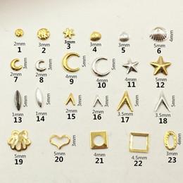 Wholesale Nail Art Rivets - 100Pcs Lot Gold Silver Moon Shell Star Rivet Studs Metal Alloy Nail Art Decorations 3D DIY Nail Stickers Jewelry Nail Charms