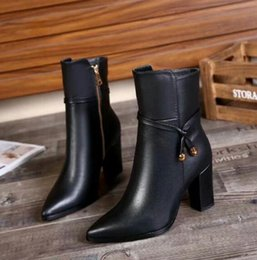 Wholesale Cheap Blue Pumps - Paris Suede Short Women Winter Boots High-heeled Zipper Rivet Pumps Cheap Violet Luxurious Brand Boots Free Shping Ankle Boots