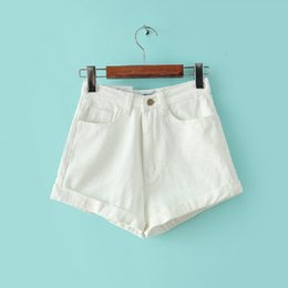 Wholesale American Apparel Style - American Style Women Vintage Apparel Casual Slim Bottom Tight-fitting High Waist Shorts Sexy Denim Shorts White Blue Jeans