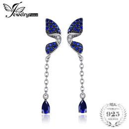 Orecchini farfalla blu online-JewelPalace Butterfly 0.6ct Pera ha creato zaffiro creato orecchini di spinello blu 925 gioielli in argento sterling fine per donna