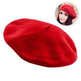 dd2b272cb06d8 Womens winter Hat Beret Female Wool Cotton blend Cap Autumn Brand New Woman  Hats Caps black red