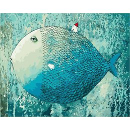 Wholesale Wall Paint Fish - Europe DIY Paint By Number Canvas Painting Kits Abstract Fish Nordic Poster Canvas Painting Watercolor Wall Art Posters and Prints