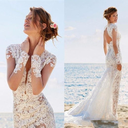 Wholesale Mermaid Keyhole Wedding Gown - Summer Garden Beach Romantic Lace Mermaid Wedding Dresses Illusion Sheer Appliqued Long Sleeves Keyhole Backless Long Bridal Gowns