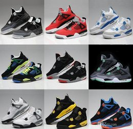 Wholesale Games Money - 2018 High Quality 4 4s White Cement Pure Money Basketball Shoes Men Women Bred Royalty Game Royal Sports Sneakers With Shoes Box