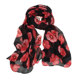 stole girl Coupons - New Red Poppy Print Long Scarf Flower Beach Wrap Ladies Stole Shawl Fashion Women 2018 Casual Scarf Long Floral Bird 2019 A50