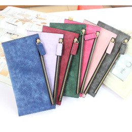 Wholesale Korean Simple Long Dresses - Simple candy color women wallet girls ladies long design zipper wallet women nubuck leather wallet coin purse hot clutch purse