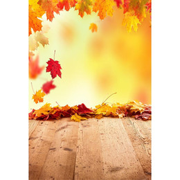 fallen foto kulisse Rabatt Fallende Ahornblätter Autumn Photo Backdrop Bretterboden Neugeborenes Baby Photoshoot Props Kinder Kinder Bokeh Fotografie Hintergrund