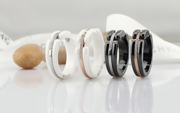 Wholesale American Advance - White Black Ceramics Ring France Ultra Rings Modern Design Women Party Diamond Rings Young Unique Charm Advanced Jewels