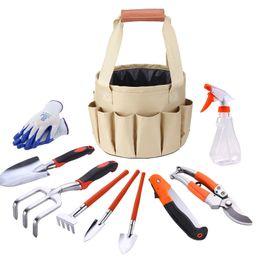 Набор садовых инструментов Набор садовых инструментов с перчатками Tote Trowel Pruners Bucket Bag 10Pcs / Set Набор садовых инструментов от