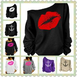 Wholesale Strapless Sweaters - 8 Colors Red Lip Printed Off Shoulder T-shirt Sexy Spring Boat Anchor Design Long Sleeve Strapless Tshirts Sweater Clothes CCA8814 40pcs