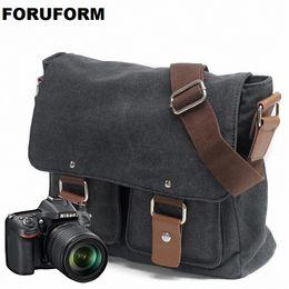 2019 bolsa de cámara dslr Bolso de hombro portátil de la lona DSLR de la lona del vintage Bolso de mensajero diagonal del hombro para Canon para Nikon Sony Olympus LI-1830 bolsa de cámara dslr baratos