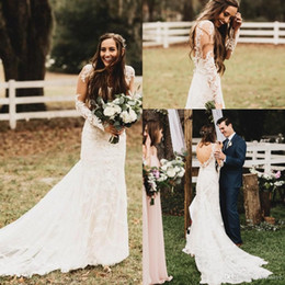 Wholesale wedding dres train - 2018 New Vintage Garden Country Lace Wedding Dresses Mermaid Sheer Long Sleeves Open Back Beach Bridal Gowns a-line long-sleeve wedding dres