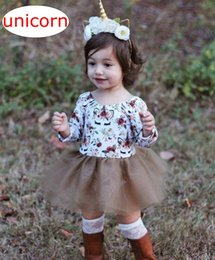 Wholesale Tulle Tutu Boutique - Unicorn Newborn Kids Boutique romper dress Baby Girl Romper Dress Cotton Cute Unicorn Floral Romper Tulle Casual Dresses Baby Girl Clothes