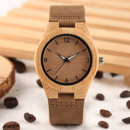 Wholesale Engraving Leather Bracelets - Women Bamboo Watch Hand Engraved Numerals Genuine Leather Bracelet Casual Ladies Wood Wristwatch Gift For Women
