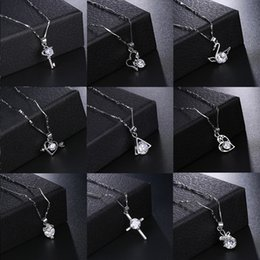 Wholesale hypoallergenic pendant necklace - Necklace Retention Hypoallergenic Zircon Necklace Simple Temperament Geometric Heart Necklace Female Jewelry Support FBA Drop Shipping H380F