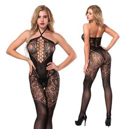 Donne teddy bodysuits online-Open Cavallo Halter Sexy Bodystockings Abbigliamento da notte Hot Lingerie Pigiama Intimates delle donne Fishnet Crotchless Body Teddies Bodywewar
