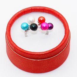 Conjuntos de perlas puras online-2018 s925 Pure Silver Freshwater 6 Pearls Ring setting Envío gratis