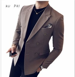 Wholesale Double Breasted Korean Suit - 2017 Spring and Autumn Korean teenager Slim double breasted suit male hair stylist student handsome single suit male casual