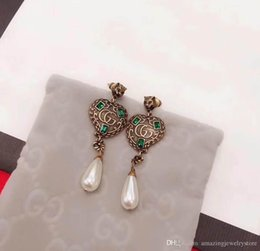 Wholesale pearl drop earrings white gold - 2018 Brand name drop earring with diamond and Pearl beads stud Earring 18k gold plated dangle for women top quality jewelry PS6677