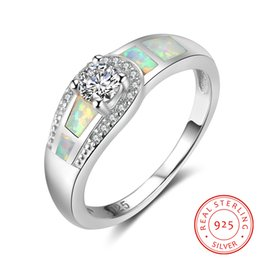 Wholesale opal gifts for women - whole sale925 Sterling Silver White Opal Round Cubic Zirconia Rings For Women Wedding Jewelry Fashion Gift for Her (RI102980)