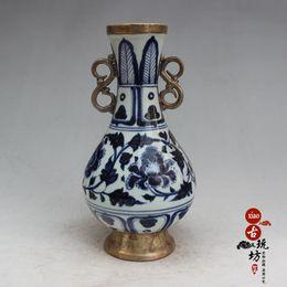 Wholesale Blue White Antique Porcelain - New Jingdezhen porcelain ceramic vases Qinglong blue and white porcelain antique vases decorated high - end ornaments