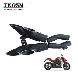 Wholesale Catalytic Converters - TKOSM Aluminum Alloy TOCE Motorcycle Motorbike Exhaust Muffler Pipe Kits Left and right for kawasaki Z1000 Z 1000 moto Exhaust Escape