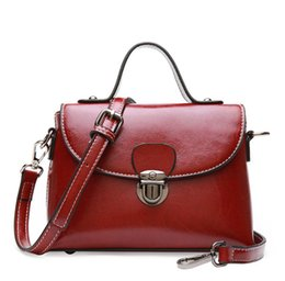 Wholesale Long Ladies Small Shoulder Bag - Retro Cowhide Tote Bags Small Simple Lady Handbags with Long Strap Genuine Leather Shoulder Bags Wholesale