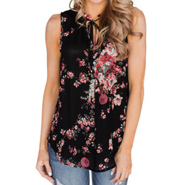 Wholesale women button front shirt - Summer Tank Tops For Women 2018 Streetwear Floral Print Button Front Tie Sleeveless Top Tunic Boho Beach Tee Shirt Clothes Women