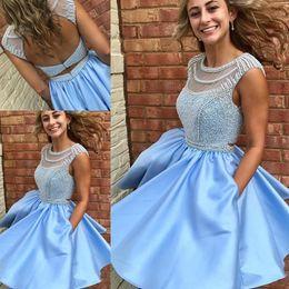 Wholesale Cheap Modern Flower Girl Dresses - Light Sky Blue Homecoming Dresses Short Prom Dress For Girls Graduation Pearls Keyhole Back Cap Short Sleeves Pearls Satin Beaded Cheap